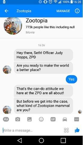 Chatbot Zootopia